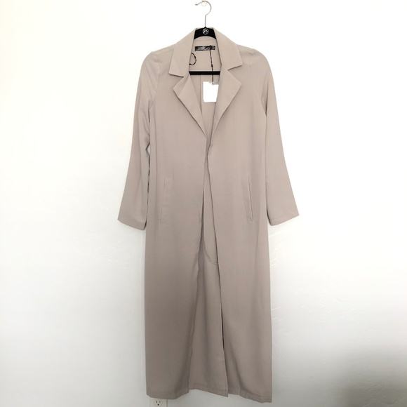 320af293e5 Missguided Gray Long Sleeve Maxi Duster Coat. M_5c6f4711c9bf503366389657